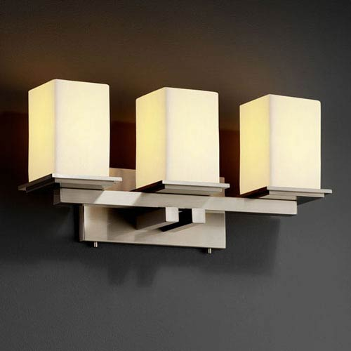 Justice Design Group CandleAria Montana Three-Light Brushed Nickel Bath Fixture
