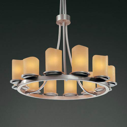 Justice Design Group CandleAria Dakota Twelve-Light Tall Ring Chandelier