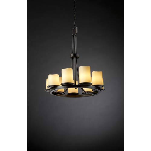 Justice Design Group CandleAria Dakota Cream Matte Black Nine-Light Chandelier