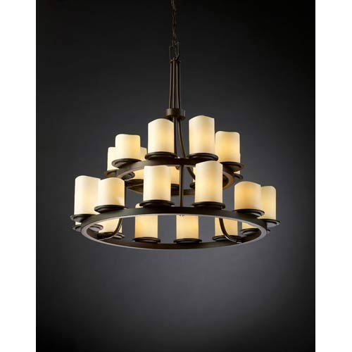 CandleAria Dakota Cream Dark Bronze Two-Tier Chandelier