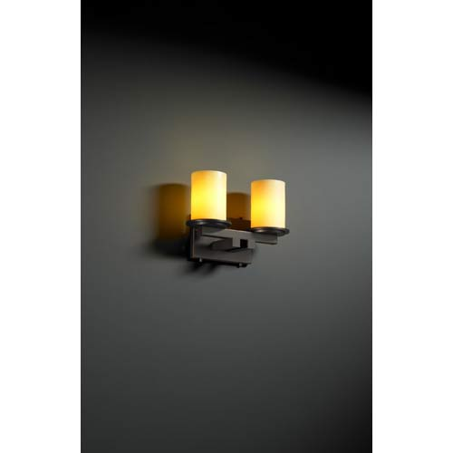 Justice Design Group CandleAria Dakota Amber Dark Bronze Two-Light Sconce