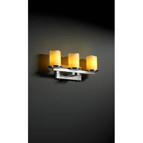 Justice Design Group CandleAria Dakota Amber Brushed Nickel Three-Light Bath Fixture