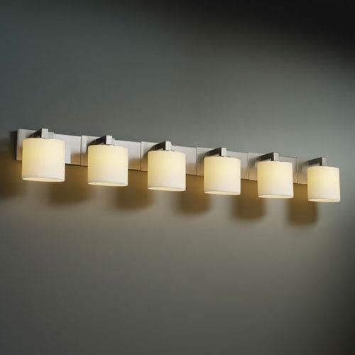 Justice Design Group CandleAria Modular Six-Light Brushed Nickel Bath Fixture