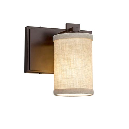 Justice Design Group Textile - Era Dark Bronze One-Light Wall Sconce with Cream Woven Fabric