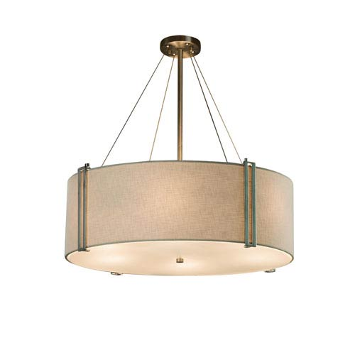 Justice Design Group Textile Reveal Brushed Nickel Eight Light Drum Pendant With White Woven Fabric