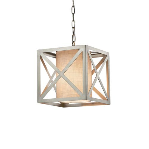 Justice Design Group Textile - Hexa Brushed Nickel One-Light Pendant with White Woven Fabric