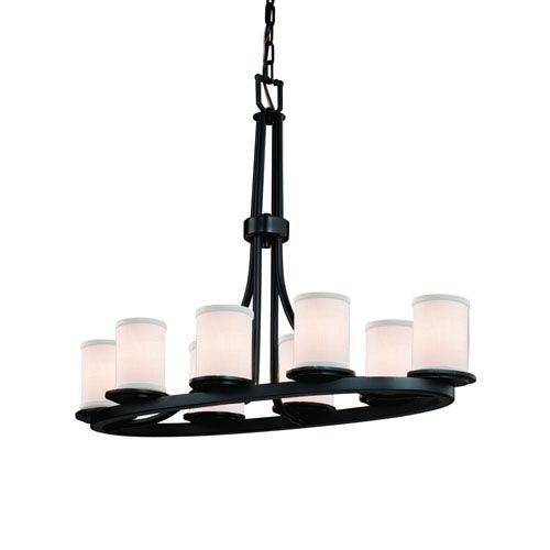 Textile  Matte Black 16-Inch LED Chandelier