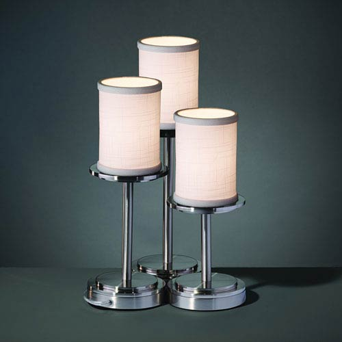 Set of 3 Textile Brushed Nickel 10-Inch LED Table Lamp