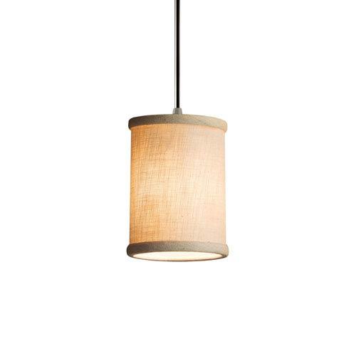 Textile Brushed Nickel 4-Inch LED Mini Pendant