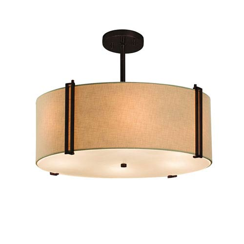 Textile  Dark Bronze 18.5-Inch LED Drum Pendant