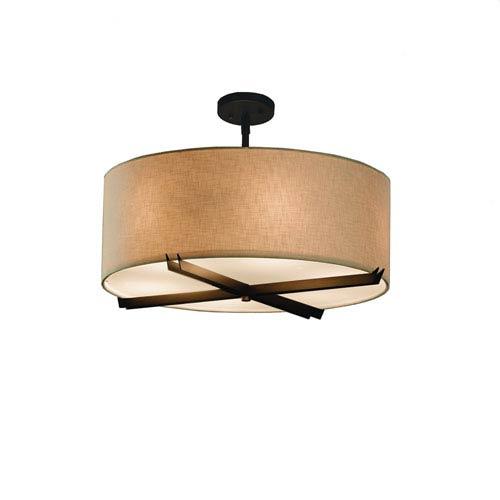 Textile  Dark Bronze 24-Inch LED Drum Pendant