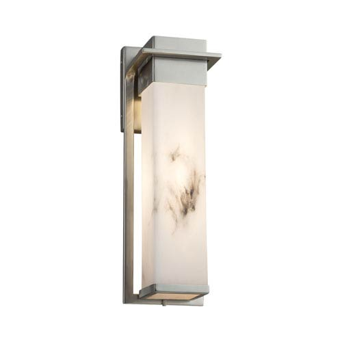 LumenAria - Pacific Brushed Nickel LED Outdoor Wall Sconce with Cream Faux Alabaster Resin