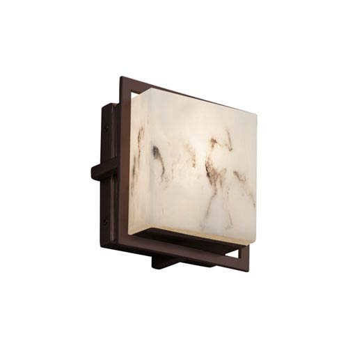 LumenAria - Avalon Dark Bronze Seven-Inch LED Outdoor Wall Sconce with Cream Faux Alabaster Resin