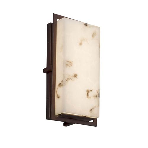 LumenAria - Avalon Dark Bronze LED Outdoor Wall Sconce with Cream Faux Alabaster Resin