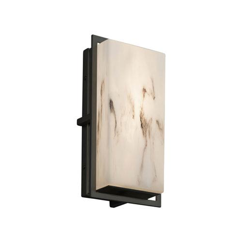 Justice Design Group LumenAria - Avalon Matte Black LED Outdoor Wall Sconce with Cream Faux Alabaster Resin