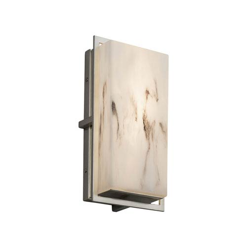 LumenAria - Avalon Brushed Nickel LED Outdoor Wall Sconce with Cream Faux Alabaster Resin