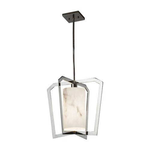 LumenAria - Aria Polished Chrome LED Pendant with Cream Faux Alabaster Resin