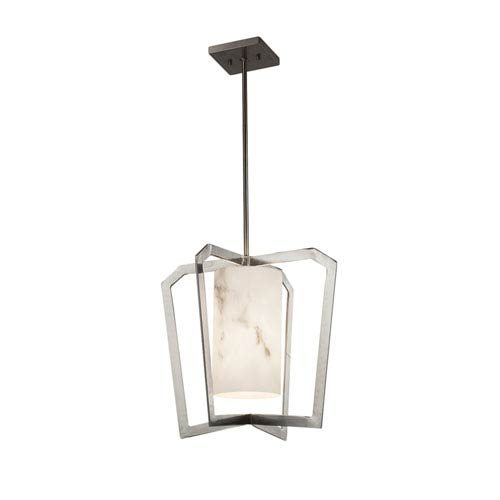 Justice Design Group LumenAria - Aria Brushed Nickel One-Light Pendant with Cream Faux Alabaster Resin