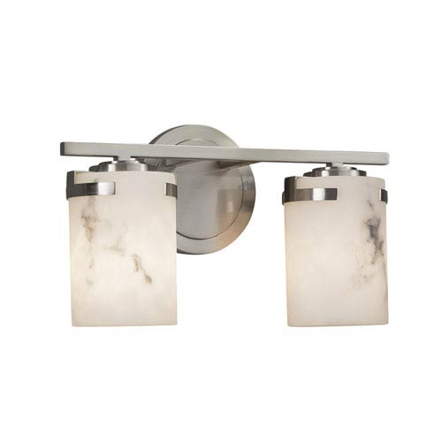 Justice Design Group LumenAria - Atlas Brushed Nickel Two-Light LED Bath Vanity with Cream Faux Alabaster Resin