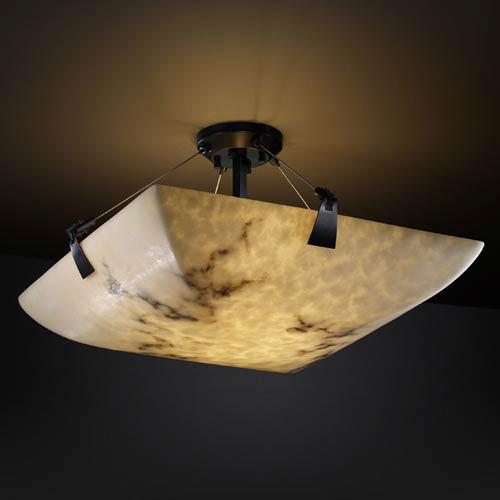 Justice Design Group LumenAria 2-Light Fluorescent Flush-Mount Matte Black Finish with Faux Alabaster Faux Alabaster Resin Shade