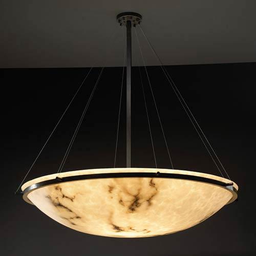 Justice design group lumenaria 36 inch round bowl 6000 lumen led pendant with ring