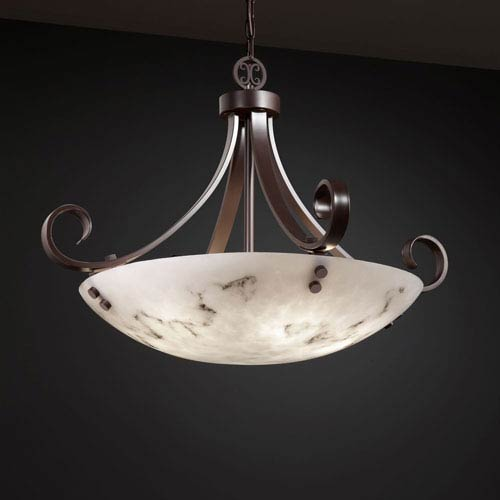 LumenAria Scrolls with Finials 24-Inch Six-Light Brushed Nickel Pendant Bowl Scrolls With Finials