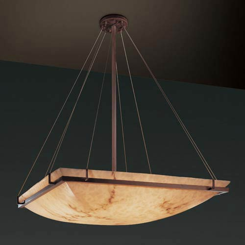 LumenAria 48-Inch Square Bowl 6000 Lumen LED Pendant with Ring