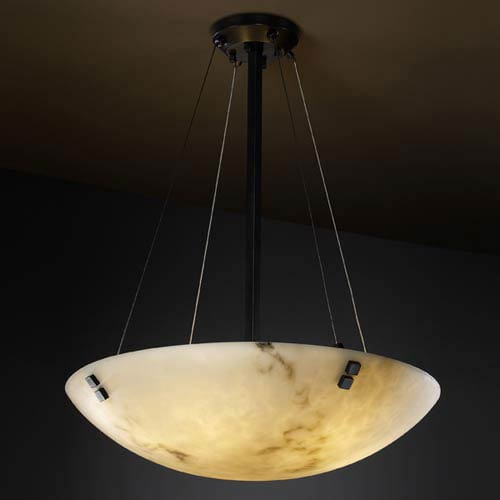 LumenAria 36-Inch Bowl 6000 Lumen LED Pendant with Pair Square Finials