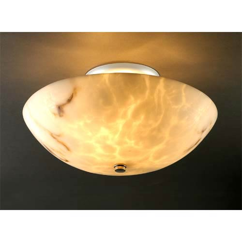 LumenAria Nickel Round Bowl Ceiling Light
