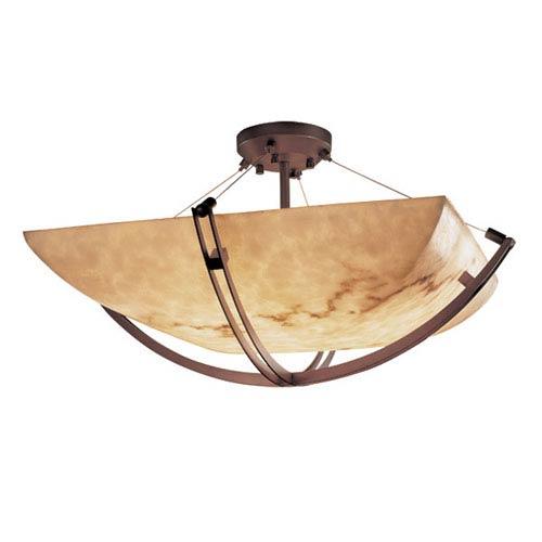 Justice Design Group LumenAriae Eight-Light 48-Inch Wide Square Semi-Flush Bowl with Crossbar