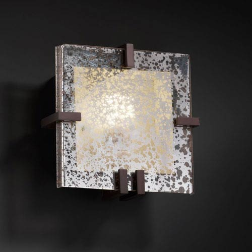 Justice Design Group Fusion Clips Square Fluorescent Dark Bronze Wall Sconce