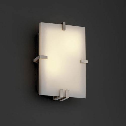 Justice Design Group Fusion Clips RectangleTwo-Light Fluorescent Brushed Nickel Wall Sconce