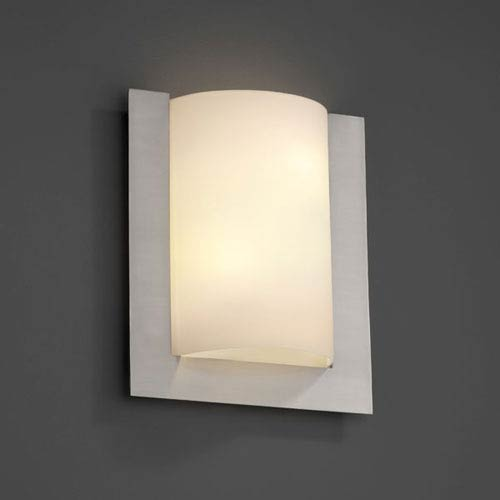Fusion Framed Rectangle Three-SidedTwo-Light Fluorescent Brushed Nickel Wall Sconce