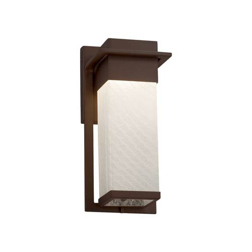 Justice Design Group Fusion - Pacific Dark Bronze LED Outdoor Wall Sconce with Weave Artisan Glass