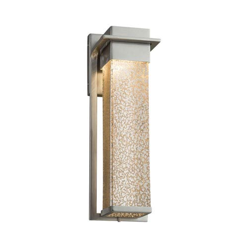 Justice Design Group Fusion - Pacific Brushed Nickel LED Outdoor Wall Sconce with Mercury Artisan Glass