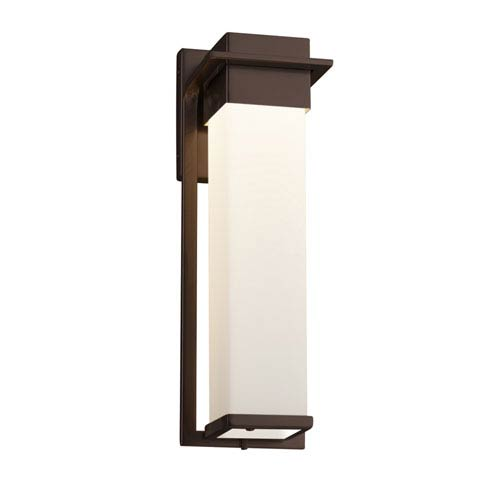 Justice Design Group Fusion - Pacific Dark Bronze 17-Inch LED Outdoor Wall Sconce with Opal Artisan Glass