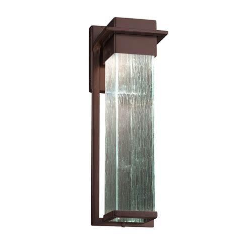 Justice Design Group Fusion - Pacific Dark Bronze 17-Inch LED Outdoor Wall Sconce with Rain Artisan Glass