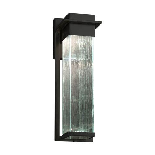 Justice Design Group Fusion - Pacific Matte Black 17-Inch LED Outdoor Wall Sconce with Rain Artisan Glass