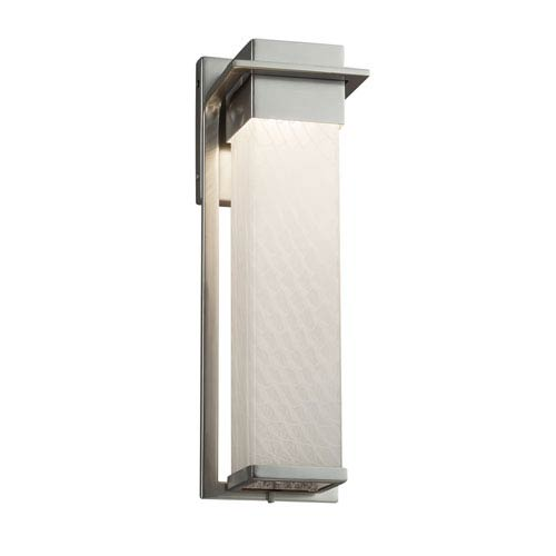 Fusion - Pacific Brushed Nickel LED Outdoor Wall Sconce with Weave Artisan Glass