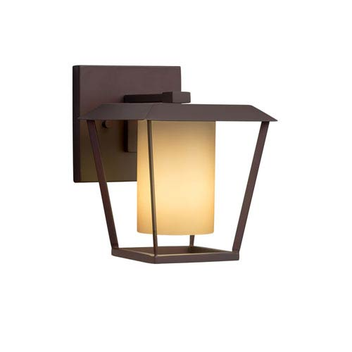 Justice Design Group Fusion - Patina Dark Bronze LED Outdoor Wall Sconce with Almond Artisan Glass