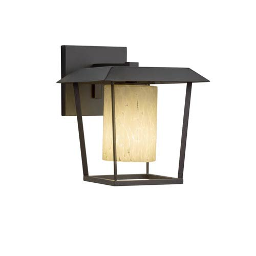 Justice Design Group Fusion - Patina Matte Black LED Outdoor Wall Sconce with Droplet Artisan Glass