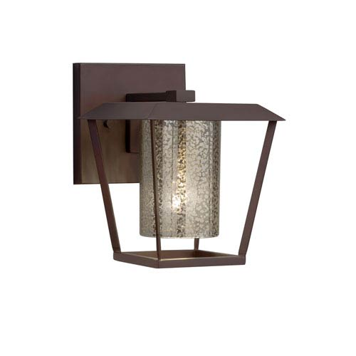 Justice Design Group Fusion - Patina Dark Bronze LED Outdoor Wall Sconce with Mercury Artisan Glass