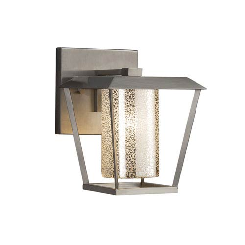 Justice Design Group Fusion - Patina Brushed Nickel One-Light Outdoor Wall Sconce with Mercury Artisan Glass