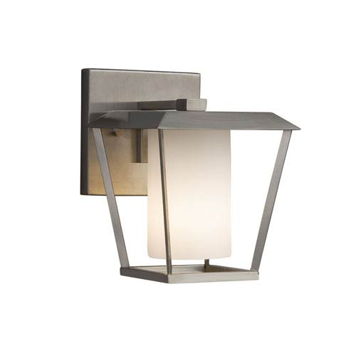 Justice Design Group Fusion - Patina Brushed Nickel One-Light Outdoor Wall Sconce with Opal Artisan Glass