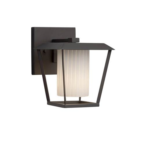 Justice Design Group Fusion - Patina Matte Black One-Light Outdoor Wall Sconce with Ribbon Artisan Glass