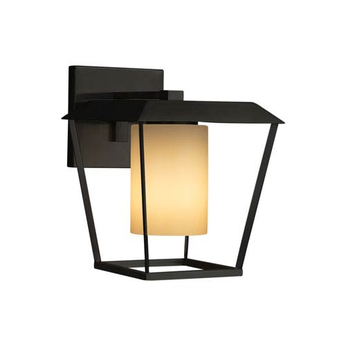 Justice Design Group Fusion - Patina Matte Black 12-Inch LED Outdoor Wall Sconce with Almond Artisan Glass