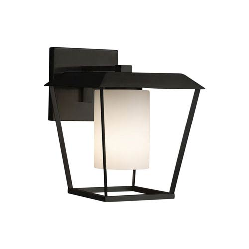 Fusion - Patina Matte Black 12-Inch LED Outdoor Wall Sconce with Opal Artisan Glass