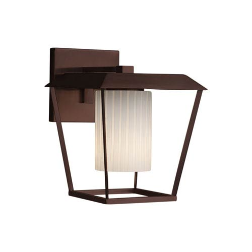 Justice Design Group Fusion - Patina Dark Bronze 12-Inch LED Outdoor Wall Sconce with Ribbon Artisan Glass