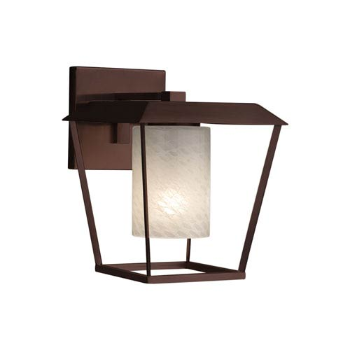 Justice Design Group Fusion - Patina Dark Bronze One-Light Outdoor Wall Sconce with Weave Artisan Glass