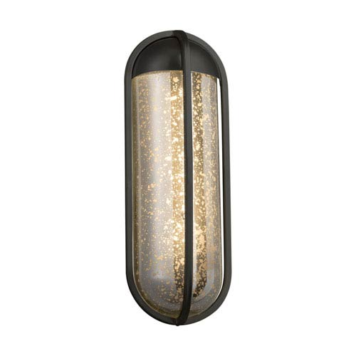 Justice Design Group Fusion - Starboard Matte Black LED Outdoor Wall Sconce with Mercury Artisan Glass